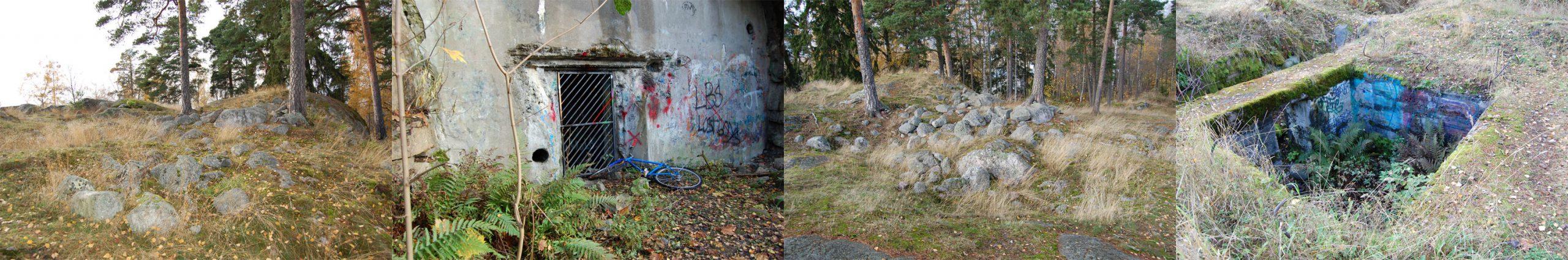 Helsingin Vartiokylän linnavuorella ilkivallan kohteeksi ovat joutuneet niin esimmäisen maailmansodan maalinnoituksen rakenteet kuin muinaislinnan osat. Kuvat: Heidi Wirilander 2012