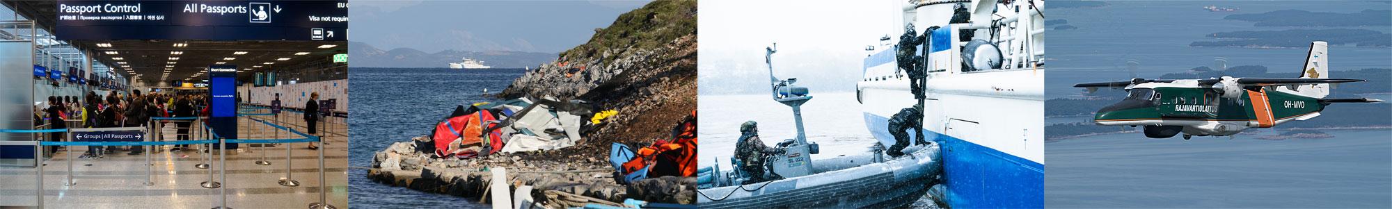 Schengen-järjestelmän toimivuus vaatii tehokkaan rajavalvonnan EU:n ulkorajoilla. Laittoman maahantulon estämisen lisäksi Rajavartiolaitoksella on valmius torjua turvallisuusuhkia ulkorajoilla ja johtaa meripelastuksen ja merellisten ympäristöonnettomuuksien tehtäviä. Kuvat: Rajavartiolaitos
