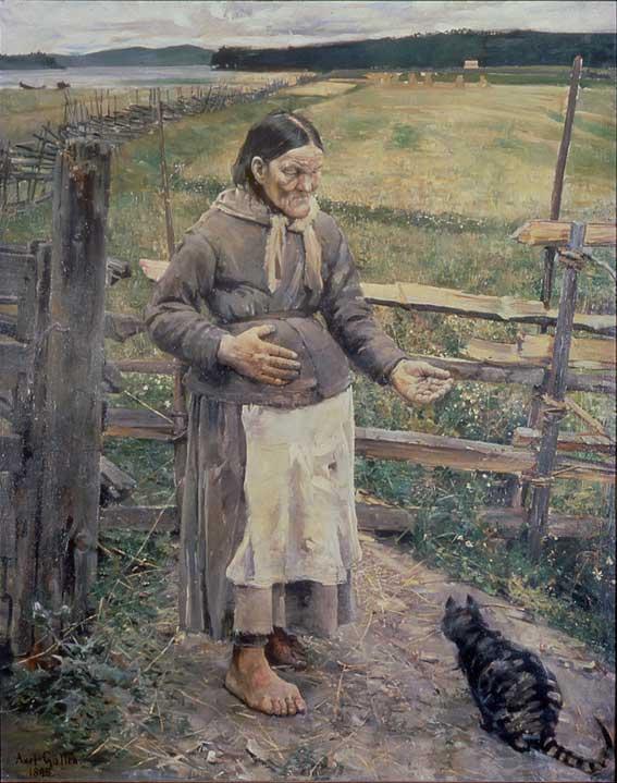 Kuva: Akseli Gallen-Kallela: Akka ja kissa. 1885. Öljy kankaalle. Turun taidemuseo. Kuva: GKM / Douglas Sivén.