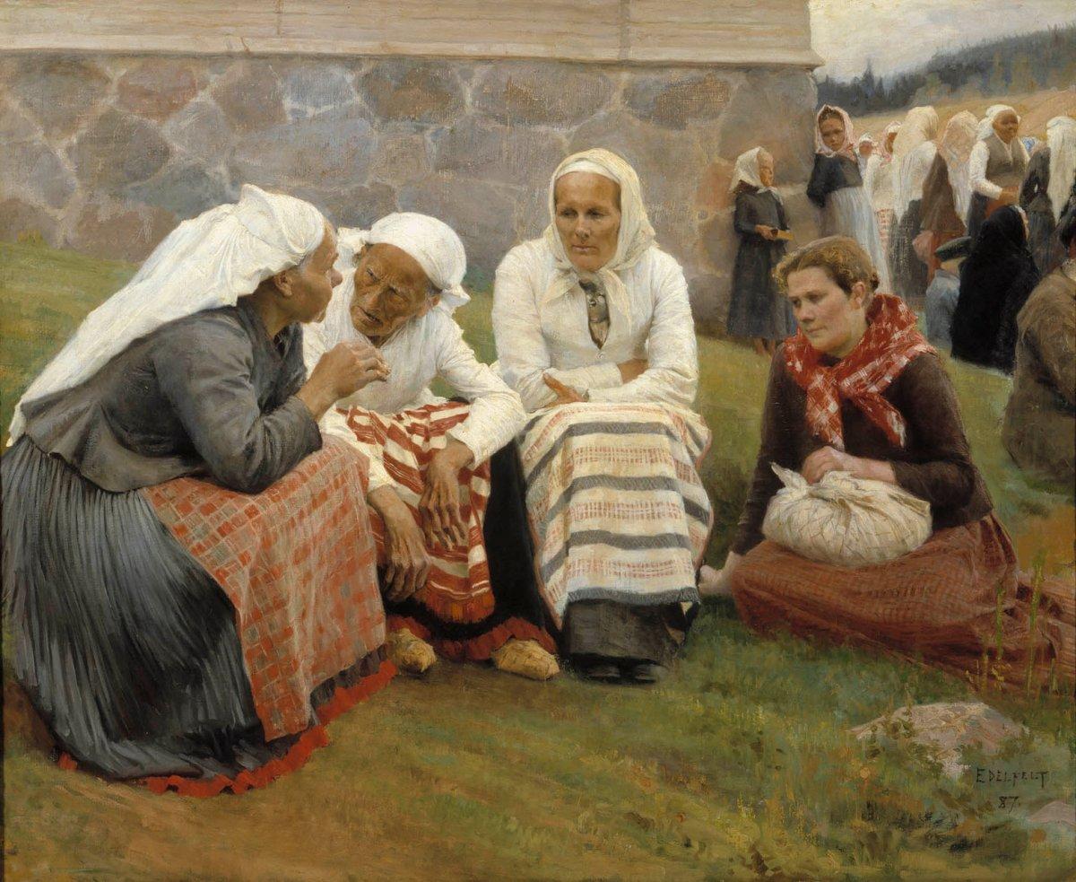 Albert Edelfelt: Ruokolahden eukkoja kirkonmäellä 1887. Kansallisgalleria/Ateneumin taidemuseo. Kuva: Hannu Aaltonen.