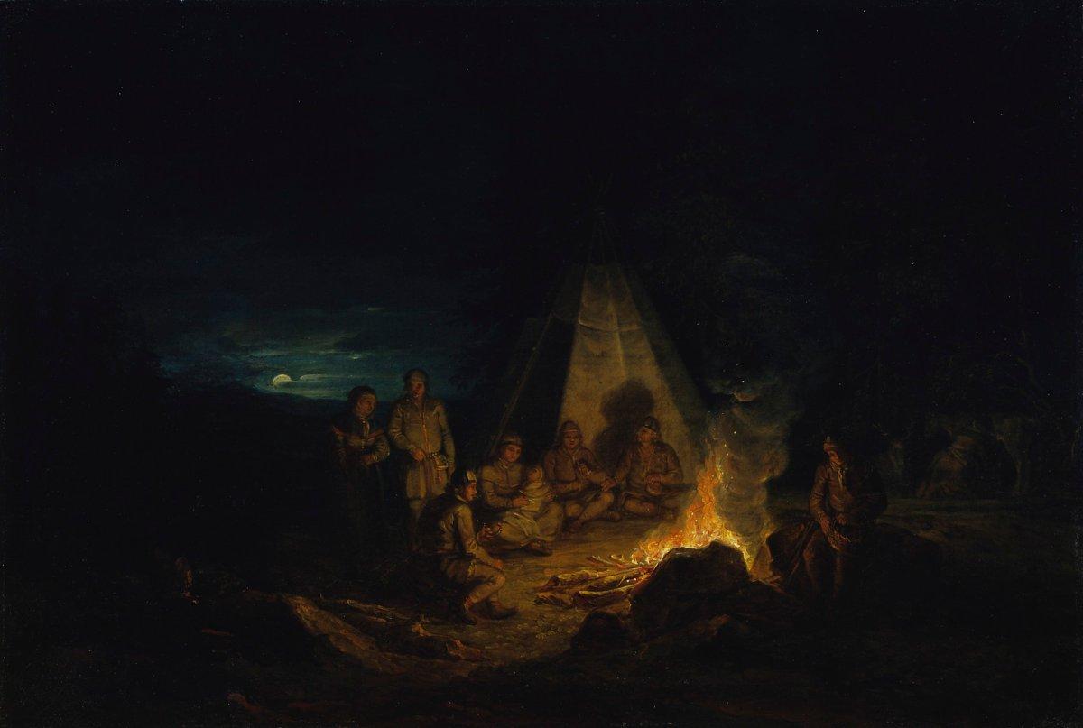 Alexander Lauréus: Lappalaisia nuotiolla 1813. Kansallisgalleria/Ateneumin taidemuseo. Kuva: Hannu Aaltonen.