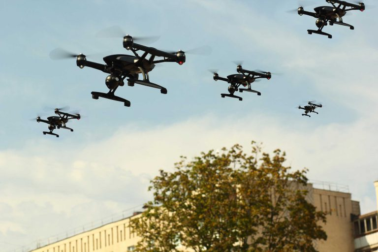 Different types of drones can already be used as weapons, but in the future with advanced AI technologies they could be equiped to use lethal force autonomously. Photo: Free_styler / Alamy Stock Photo