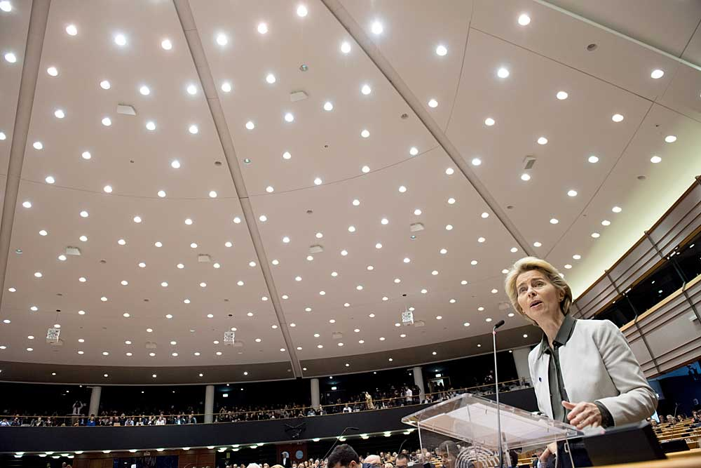 Euroopan komission puheenjohtaja Ursula von der Leyen esitteli komission vihreän sopimuksen 11. joulukuuta 2019. Kuva: Euroopan unioni