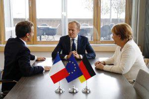 Macron, Tusk ja Merkel tapaamisessa. Kuva: Euroopan unioni