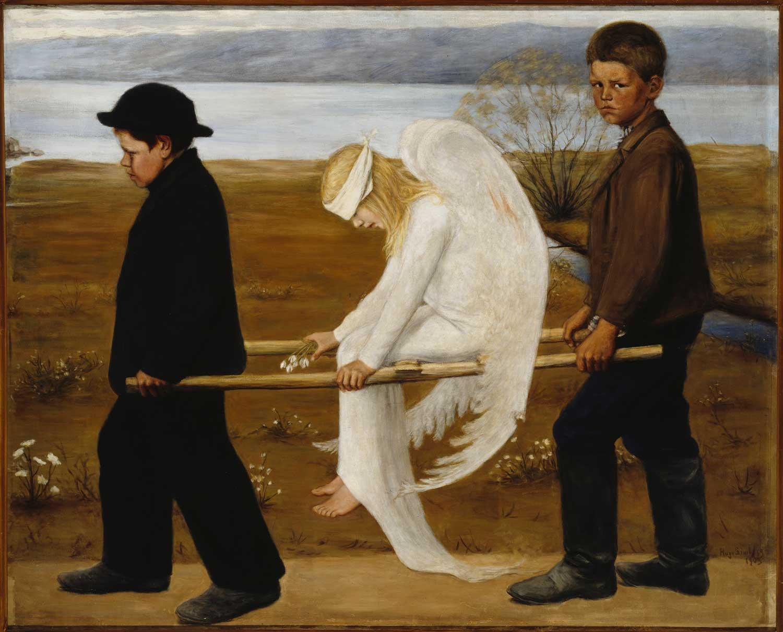 Hugo Simbergin Haavoittunut enkeli (1903) on yksi Ateneumin kokoelman rakastetuimmista maalauksista. Kansallisgalleria/Ateneumin taidemuseo,Ahlströmin kokoelma.Kuva: Kansallisgalleria/Hannu Aaltonen.
