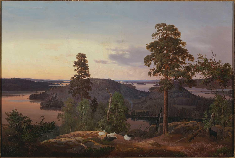 """Ferdinand von Wrightin teos Näköala Haminalahdelta (1853) nousi omana aikanaan suureen suosioon– ei vähiten siitä syystä, että Zacharias Topelius ylisti maalausta kirjoittamalla """"tämä maalaus on Suomi"""" . Kansallisgalleria / Ateneumin taidemuseo. Kuva: Kansallisgalleria / Hannu Pakarinen."""