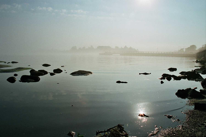 Itämeren rantaa utuisena aamuna.