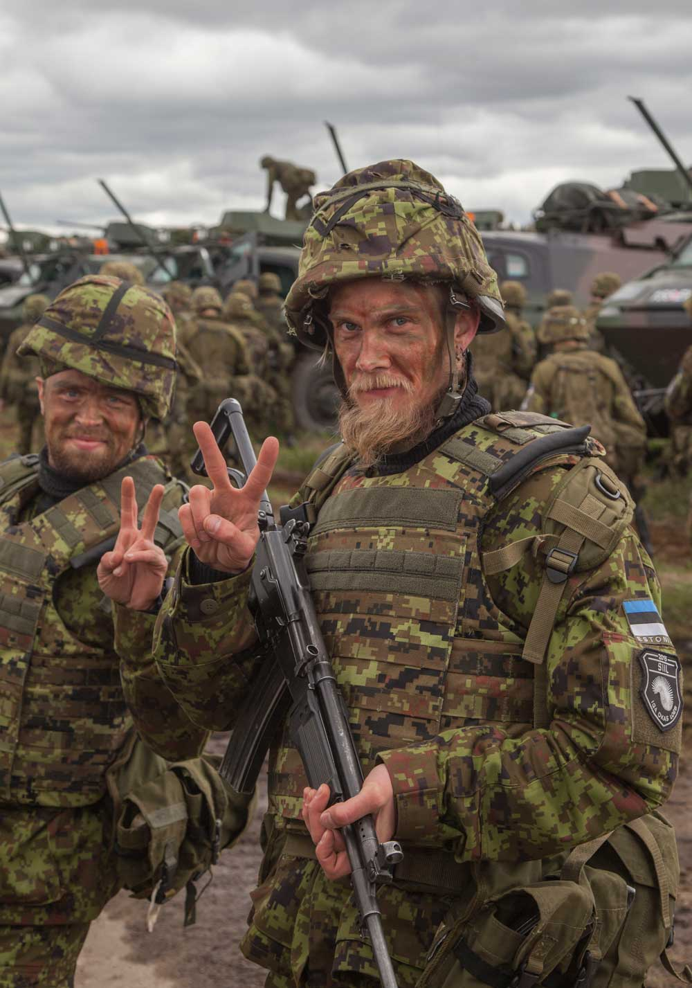 Estonian reservists at and exercise.