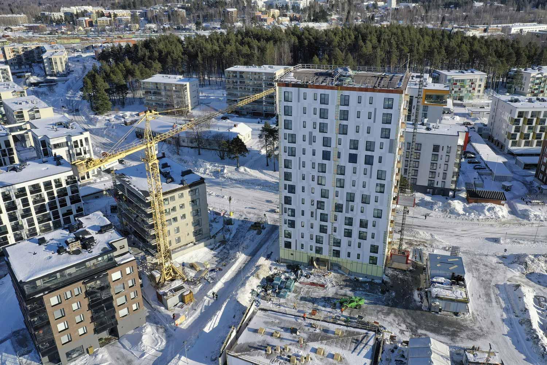 Suomen korkeinta puukerrostaloa rakennetaan kevättalvella 2019.