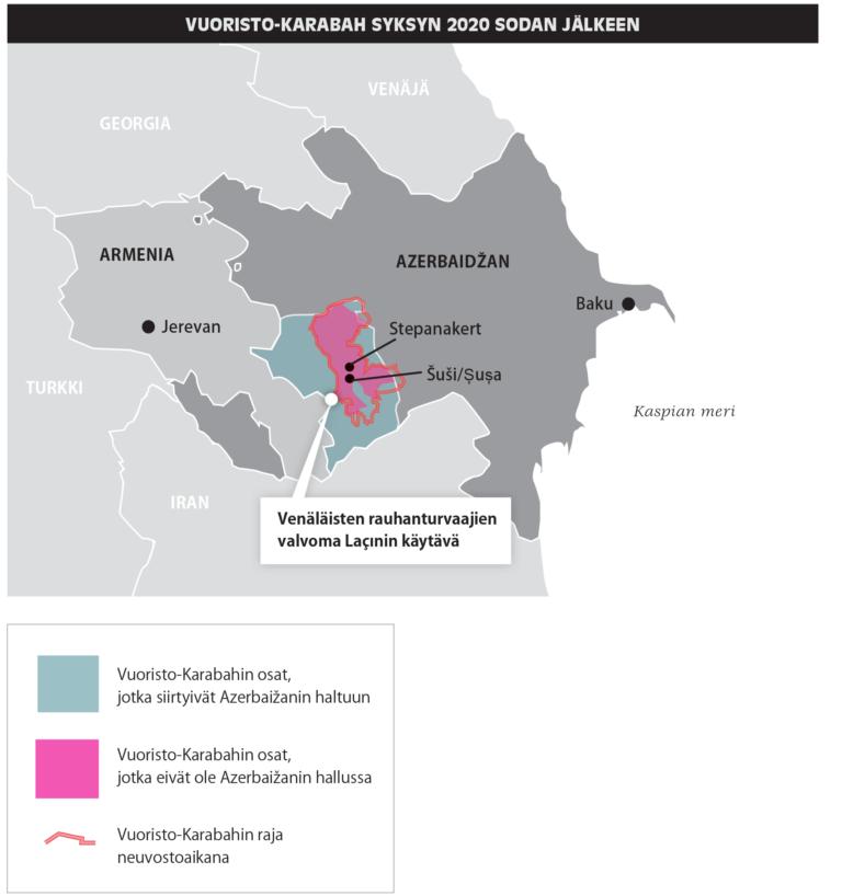 Kartassa näkyy Vuoristo-Karabahin raja neuvostoaikana sekä osat, jotka siirtyivät Azerbaižanin haltuun sodassa sekä ne osat, jotka eivät virallisesti ole osa Azerbaižania, vaan autonomisen hallintoalueen hallussa. Lisäksi autonomiselta alueelta Armeniaan johtaa venäläisten rauhanturvaajien valvoma Lacinin käytävä.