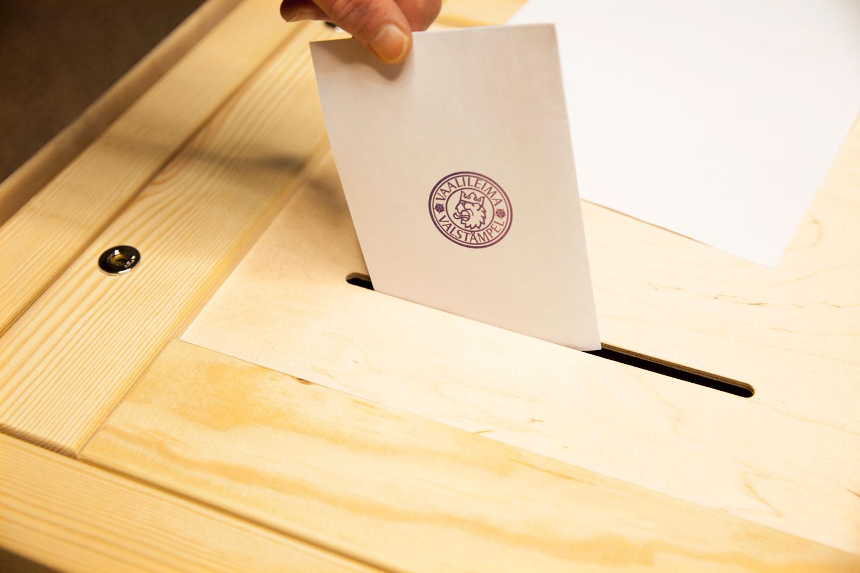 Käsi tiputtaa leimatun äänestyslipukkeen vaaliuurnaan.